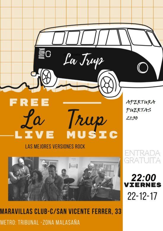 """La Trup está formada por Silvia La Cantata, César Manos Baquetas, Jorge Alma Guitarrera, Javi Bass Man, Goyo Hendrix, Alberto Armónica y Pepo """"Todoterreno"""" Cantante."""