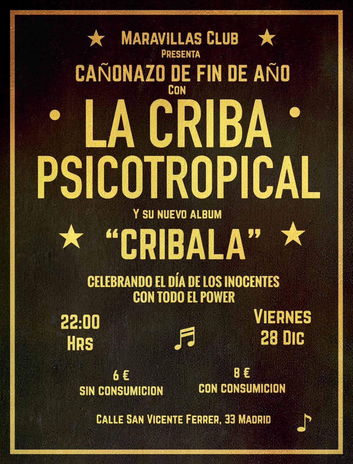 La Criba Psicotropical es una fusión de raíces afrolatinas, rock, funk, ritmos latinos como salsa, cumbia
