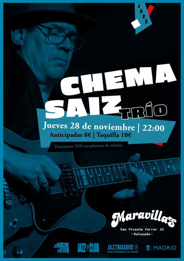 El jazz llega a Maravillas con el trío de Chema Saiz